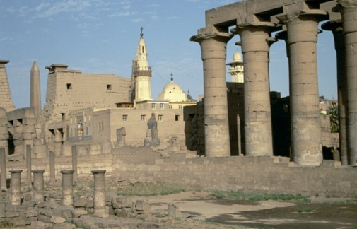 why are the noses missing from egyptian statues. The mosque of Abu Haggag, Luxor