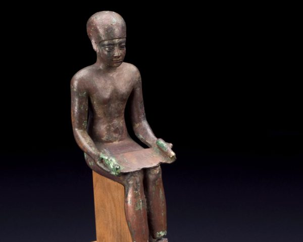 Copper Alloy statue of Imhotep, Kemet, 600-30 BCE